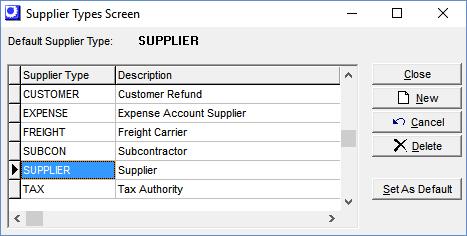 Supplier Types